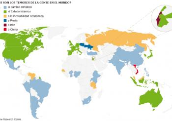 El mapa de los temores globales, según el Pew Research Center. / EL PAÍS